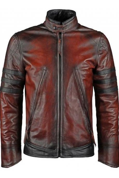 New Handmade X-Men's / Wolverine /James Logan Red Tough Cow Leather Jacket