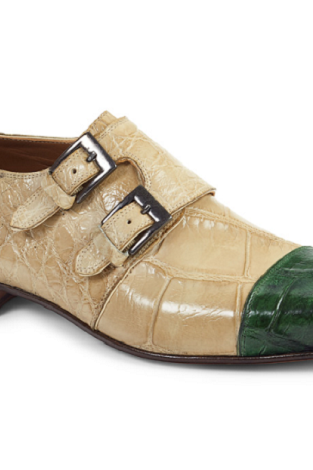 New Handmade Men Double Monk Strap Alligator Texture Bone / Green Shoes