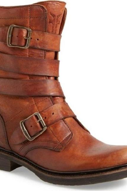 Handmade Men's Retro Buckle Leather High ankle Boots