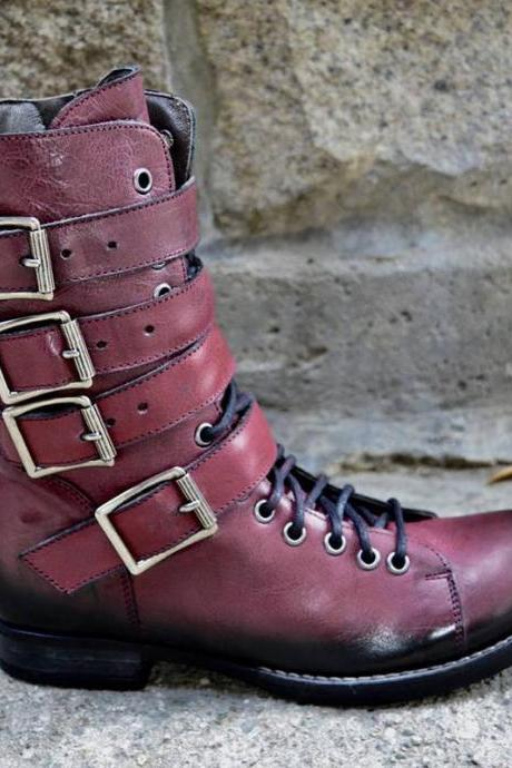 New Handmade Men's Retro Buckle Handmade Leather High Boots