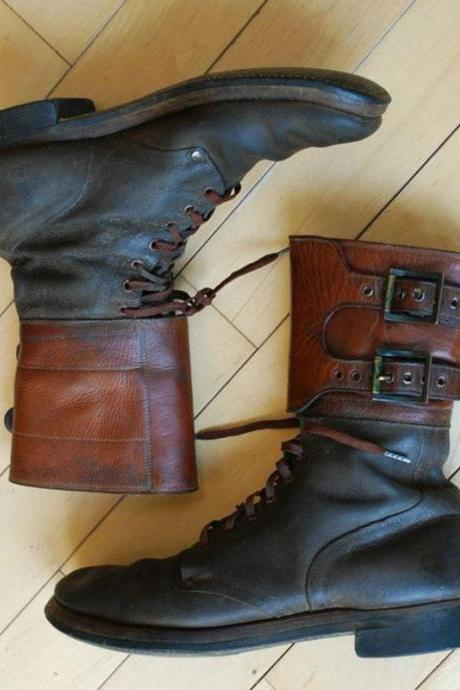 Handmade Cowhide Leather Mens Buckle Army High Boots