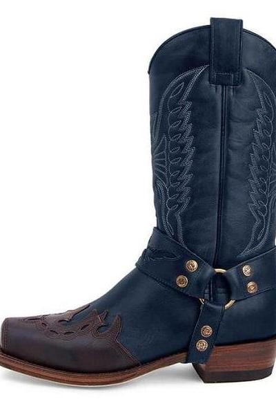 Handmade Cowhide Men's Blue Buckle Caved Cowboy Boots