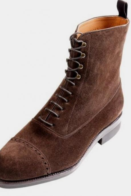 Latest Brown Cap Toe Ankle High Suede Bespoke Hiking Lace Up Boot