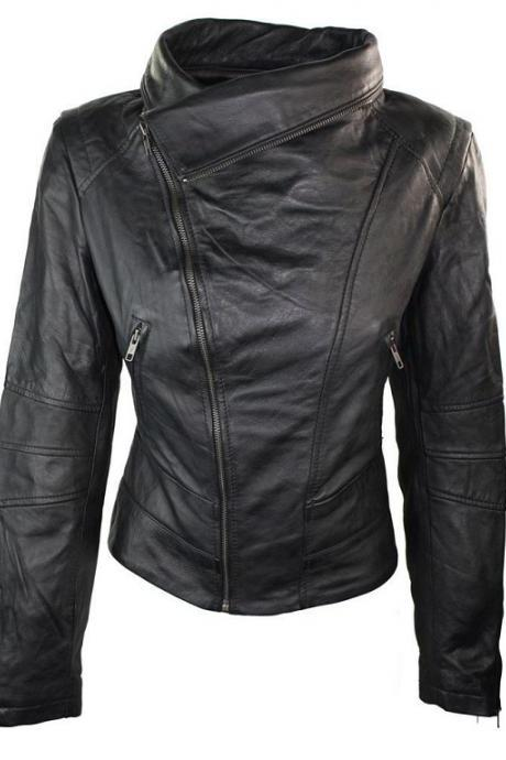 Women's Stylish Fashion Biker Leather Jacket, Women's Slim fit Jacket