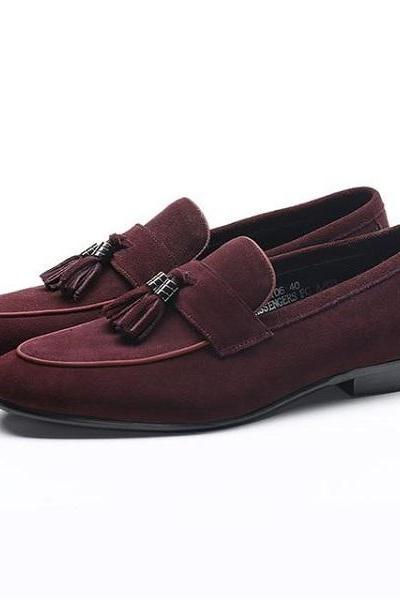 Handmade Men's Oxford Tassels Shoes,Burgundy Suede Formal Loafer Shoes