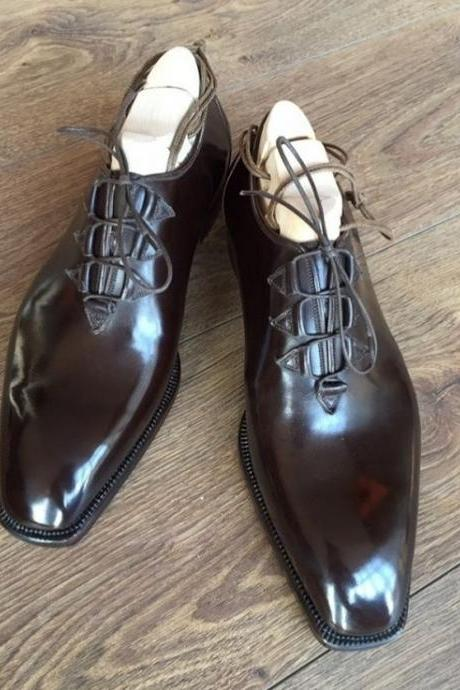 Dark Brown Comfortable Hand Stitch Cheap Price Plain Toe Lace Up Shoes For Gentlemen