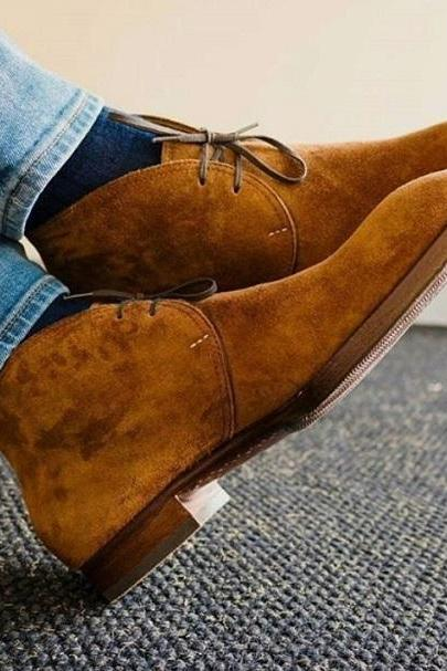 New Brown Suede Mens Dress Chukka Decent Occasions Wear Lace Up Boot,Adult Hiking Lace Up Boot