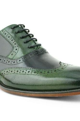 Shiny Green Oxford Vintage Leather Wing Tip Rounded Derby Toe Natural Color Sole Handmade Shoes