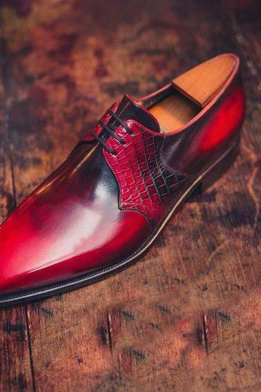 Handmade Men Customized Aligator Skin Red Black Leather Chukka Formal Dress Shoes