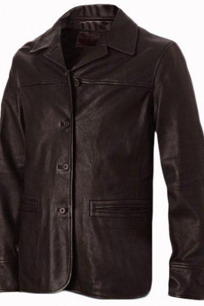 Men's 4 Button Brown Leather Coat