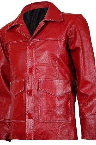 4 Button Men Red Leather Coat