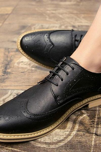 Black Oxford Genuine Leather Brogue Toe Superior Natural Color Sole Handmade Shoes
