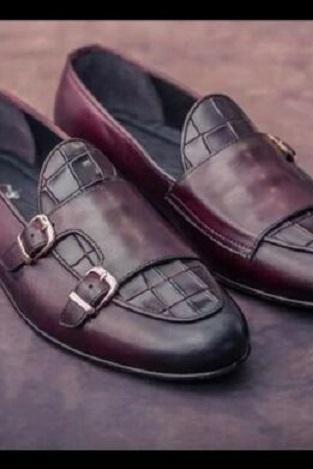 Handmade monkstrap cowhide leather Loffers for men's