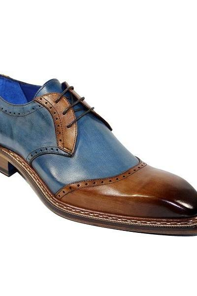 Blue Brown Two Tone Vintage Leather Rounded Burnished Derby Toe Handmade Lace Up Shoes