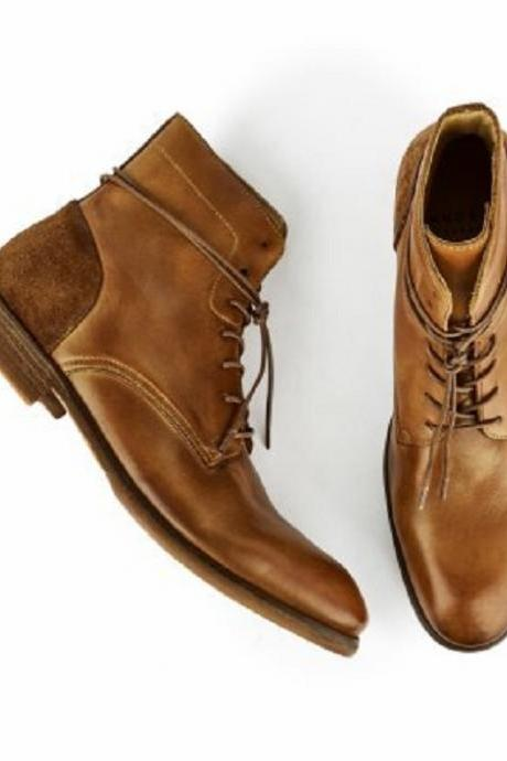 Handmade Victorian style leather ankle boot for men in Tan color