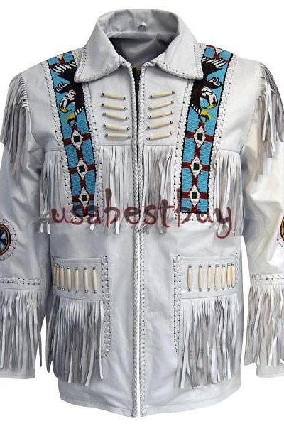 MEN WHITE LEATHER WESTERN COWBOY JACKET WITH FRINGE BONE & BEATS