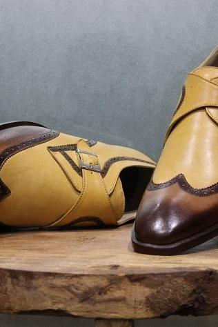 New Mens Handmade Shoes Brogue Style Shaded Leather Formal Dress & Casual Boots