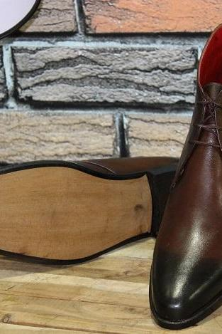 New Men's Handmade Brown Chukka Boot, Men's Handmade Ankle Boot