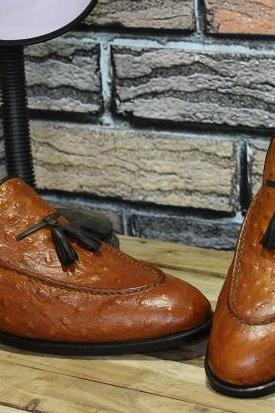 Men's New Handmade Shoes Tan Color Ostrich Leather Tassels Moccasins Formal & Casual Wear Shoes