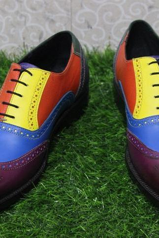 New Mens Handmade Multi Color Shoes Unique Brogue Style Two Tone Leather Formal & Dress Boot