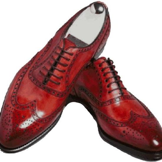 OXFORD Genuine LEATHER Fully Handmade Red Color Formal Wedding Shoes For Men