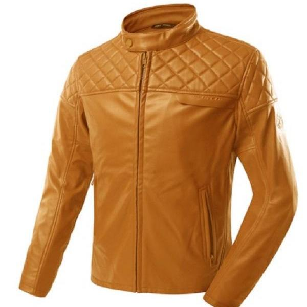 Handmade Mens Brown Biker Quilted Leather Jacket