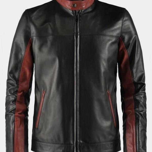 Best Selling Hand Made Red Lining Black Formal Wear Leather Jacket