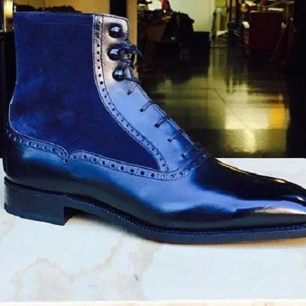 Men Fashion Elegant Navy Blue Boots, Lace Up Boot, Ankle Boot, Men's Boot,Dress Boot,Leather suede Boot
