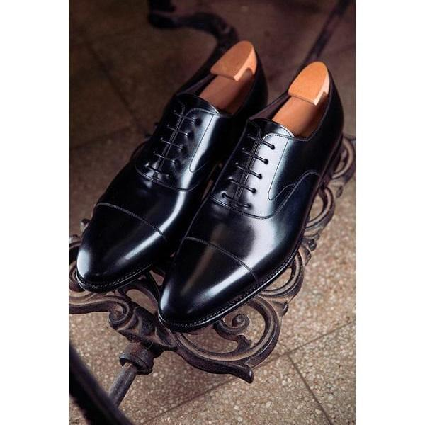 Handmade Men Black Leather Shoes With Lace up Closure, Formal Dress Shoes
