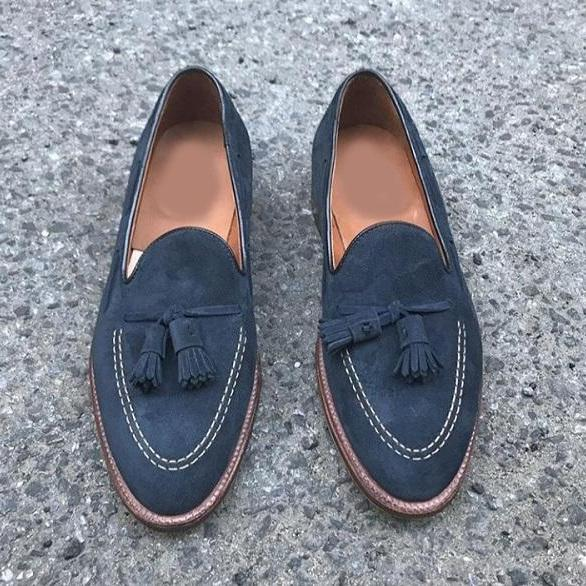 Handmade Men's Tussles Shoes, Men's Navy Blue Suede Slip On Loafer Shoes