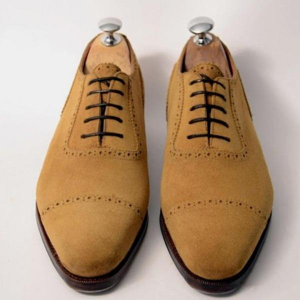 Handmade Men Tan Brown Finishing Cap Toe Classic Lace Shoes