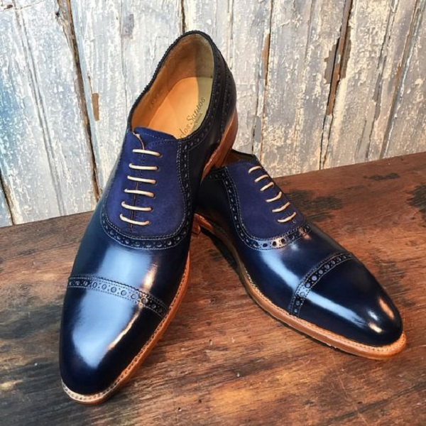 Handmade Men Navy Blue Leather Dress shoes, Formal men shoes