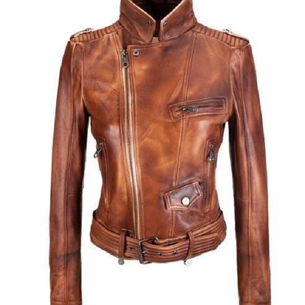 Women Designer Style 100% Lamb Leather Biker Motorcycle Jacket