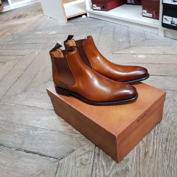 Handmade Men's Tan Ankle Chelsea Leather Boot