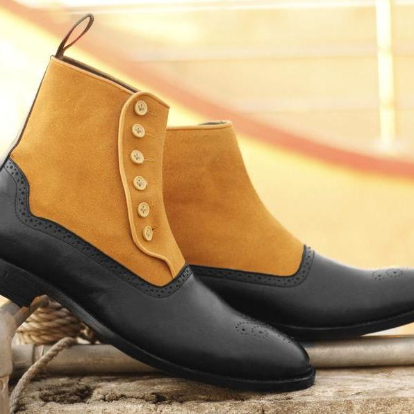 Men Handmade Tan & Black Leather Suede Boots, Men's Brogue Toe Button Boots, Mens Formal Boots