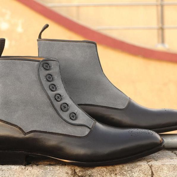 Bespoke Leather & Suede Grey Black Brogue Toe Boots, Men's Dress Button Top Boots