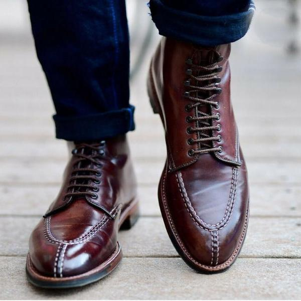 Handmade Men Split Tie Ankle Boots New All Genuine Leather Men's Brogue Boots