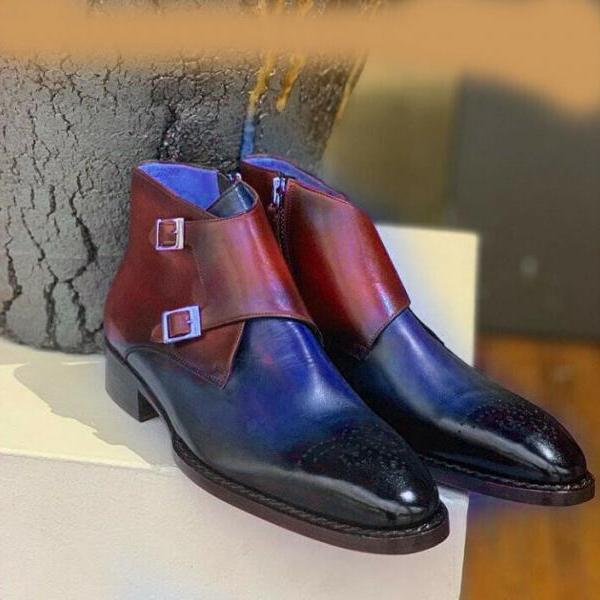 Handmade Burgundy Blue Leather Boot, Men's Double Monk Strap Brogue Dress Boots