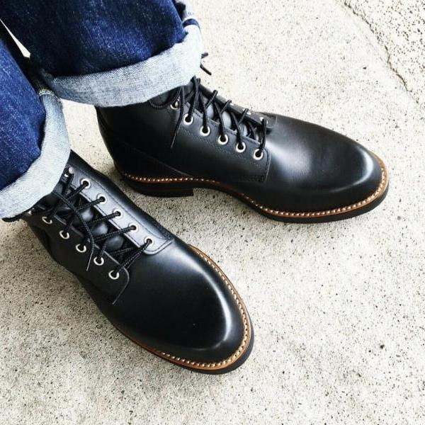 New Pure Handmade Black Genuine Leather Lace up Ankle Boots for Men's