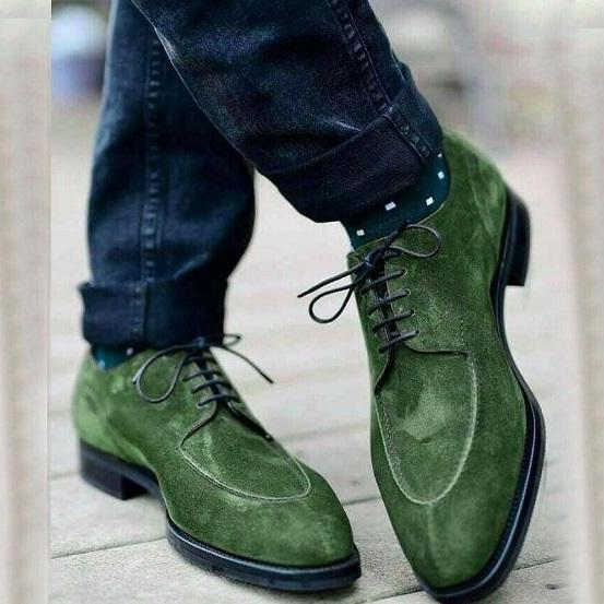 Green Ankle High Suede Boots, Lace up Designer Dress Casual Boots For Mens