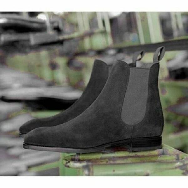 Handmade Mens Gray Suede Chelsea Boots, Men Chelsea Ankle Boots For Mens