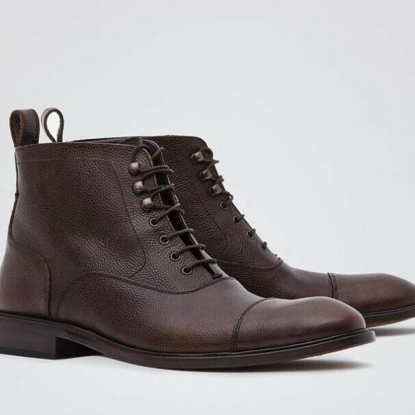 Handmade Men Brown Ankle Boots, Lace up Closure Boots for Men, Men Ankle Boots
