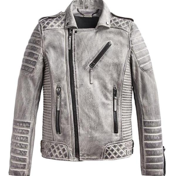 Mens Leather Jacket Smokey Gray Unique Style Quilted Slim Fit Leat