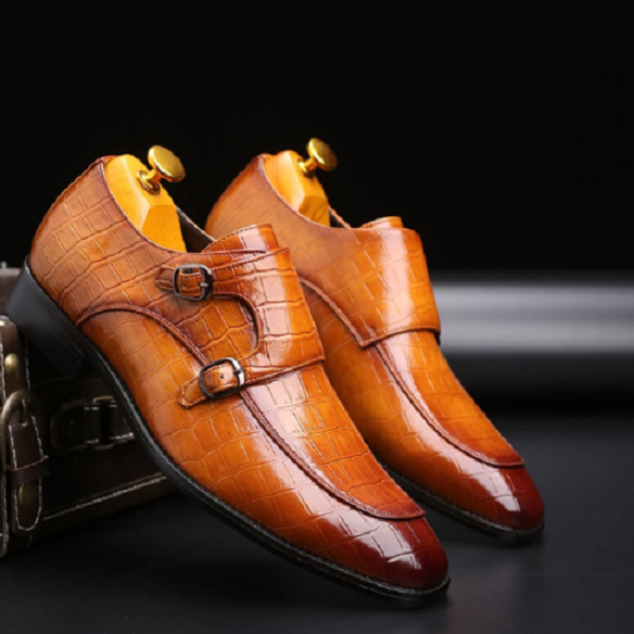 Handmade double monk Alligator shoes, Crocodile Textur leather Tan mens shoes
