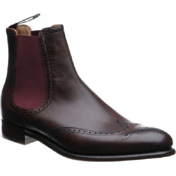 Handmade Men dark brown wingtip brogue Chelsea boots, New Ankle boots for mens