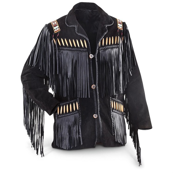 MEN WESTERN BLACK COLOR COWBOY STYLE SUEDE LEATHER JACKET