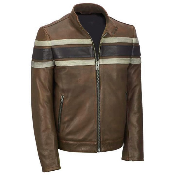 Handmade Men Brown Leather Jacket & Navy Blue White Strip leather Biker jacket