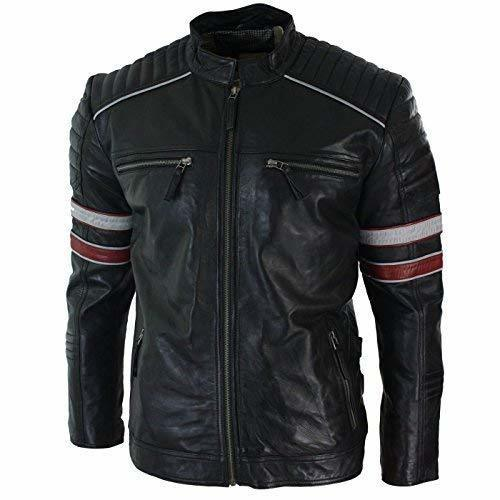 Men Racing Black Biker Jacket Red White Stripes Real Leather Casual Slim Fit black