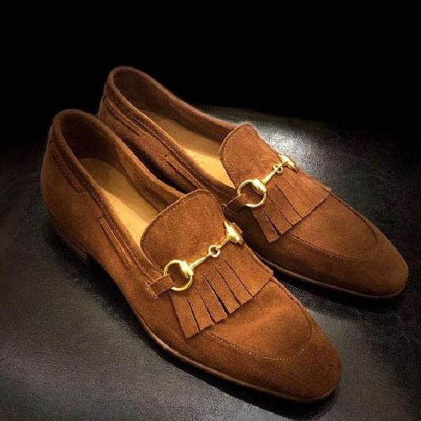 Elegant Handmade Bespoke Tan Ankle Suede Shoes for Men