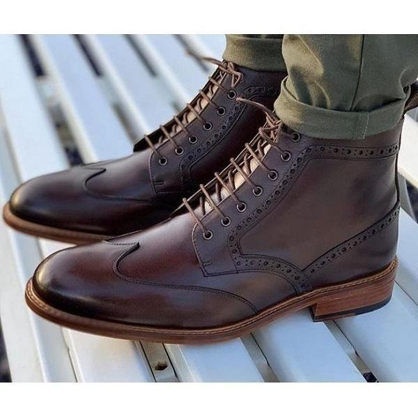 Handmade Ankle Boot Brown Color Wing Tip Lace Up Dress Boot For Men